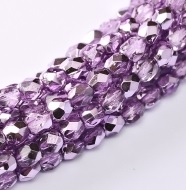 50 pack 3mm Fire Polished Crystal Lilac Metallic Ice 00030 67272