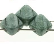 40 pack 2 hole Silky Beads Alabaster Green Lustre 02010 14459