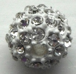 10 mm Metal Alloy Rhinestone Bead Clear