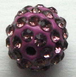 10 mm Metal Alloy Rhinestone Bead Dusky Pink