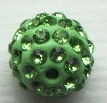 10 mm Metal Alloy Rhinestone Bead Light Green