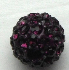 10 mm Metal Alloy Rhinestone Bead Deep Purple