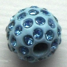 10 mm Metal Alloy Rhinestone Bead Pale Blue