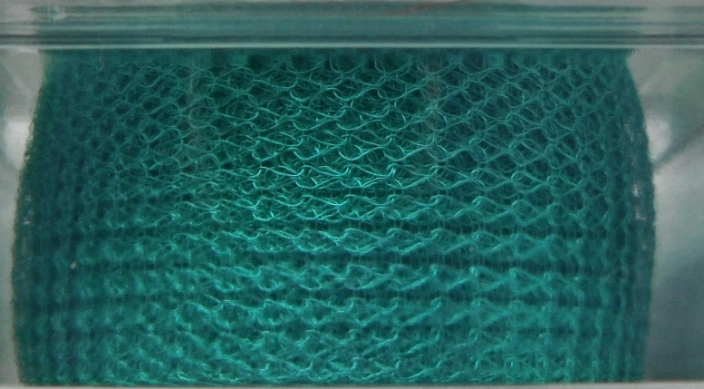 A 1 metre length of 15 mm wide 1000 Series WireKnitZ Turquoise