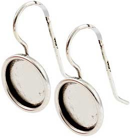 .999 A. Silver Plated Ear Wire with 11mm round bezel 1 pair