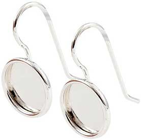 .999 S.Silver Plated Ear Wire with 11mm round bezel 1 pair