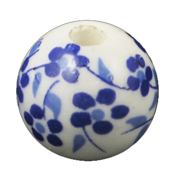 Handmade Porcelain Beads - 12mm Blue Floral