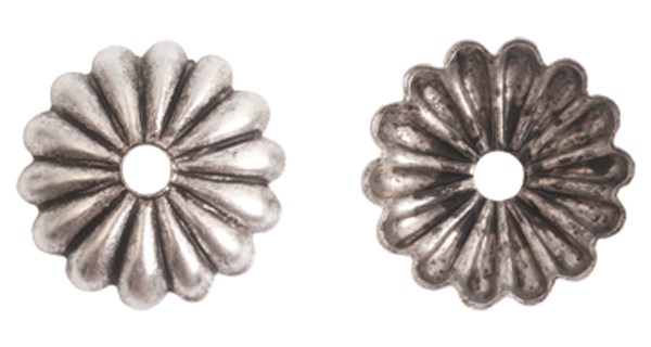 12mm .999 A. Silver Plated Patera Petal Design Beadcap