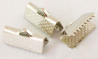 13mm Antique Silver Colour Nickel Free Ribbon Ends 4 pack
