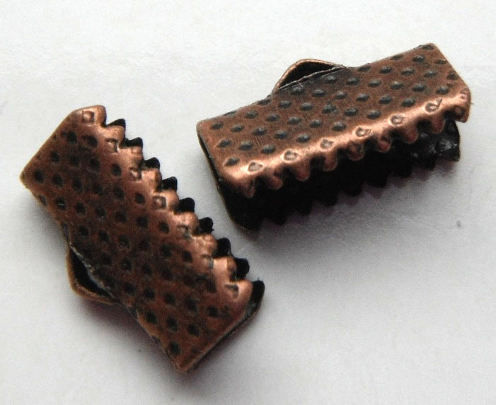13mm Antique Copper Colour Nickel Free Ribbon Ends 4 pack