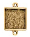 13mm 24K Gold Plated Patera Double Loop Square Bezel 2 pack