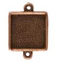 13mm Copper Plated Patera Double Loop Square Bezel 2 pack