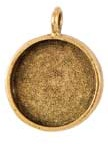 16mm 24K A Gold Plated Patera Single Loop Round Bezel
