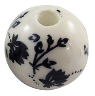 Handmade Porcelain Beads - 16mm Dark Blue Floral