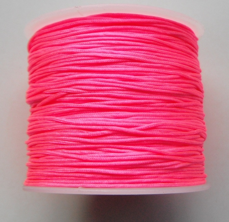 1mm Nylon Cord in bright pink. Price per 40 metre roll