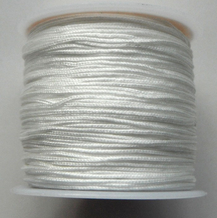 2 mm diameter nylon Rattail Cord in white. Price per metre
