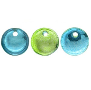 50 Czech 1 hole 6mm Lentils Mirror Reflection Lime/Teal 48210