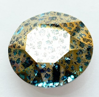 27 mm Swarovski Rivoli Aqua Gold Patina Foiled