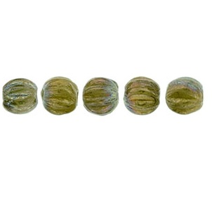 100 3mm Czech glass Melons Oxidised Bronze Chartreuse 15776