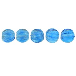 100 3mm Czech glass Melons Lustre Iris Capri Blue LR6008
