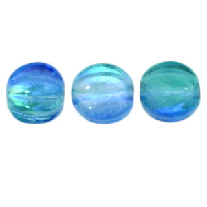 50 pack 5mm Czech Glass Melons Coated Deep Sea Blue 16111
