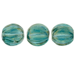 50 pack 5mm Czech Glass Melons Lustre Iris Atlantis Blue LR6023