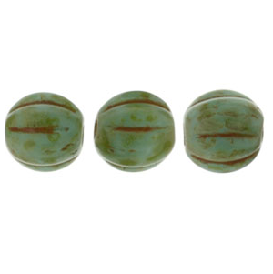50 pack 5mm Czech Glass Melons Turquoise Picasso T6313