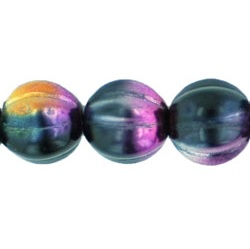 25 pk 8mm Czech Glass Melons Coated Marea Purple/Jet 16313