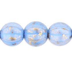 25 pk 8mm Czech Glass Melons Gold Marbled Op Blue GM33010