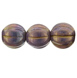 25 pk 8mm Czech Glass Melons Lustred Op Bronzed Smoke P15780