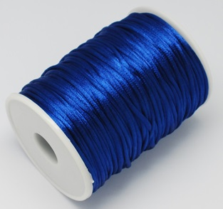 2 mm diameter nylon Rattail  Cord in blue. Price per metre