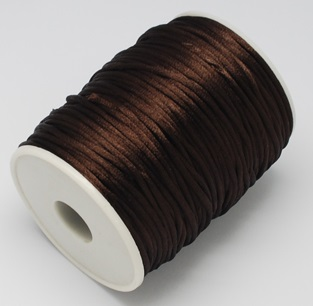 2 mm diameter nylon Rattail Cord in brown. Price per metre