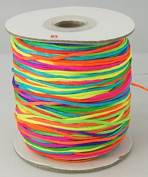 2 mm diameter multicoloured nylon Rattail Cord  Price per metre