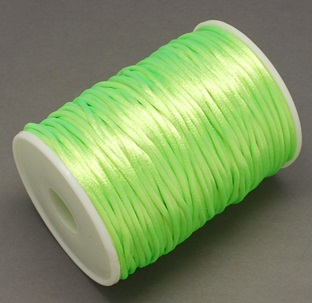 2 mm diameter nylon Rattail Cord in light green. Price per metre