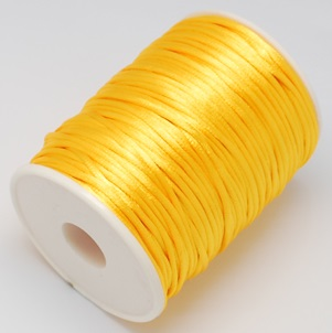 2 mm diameter nylon Rattail Cord in yellow. Price per metre
