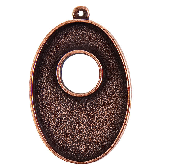 25x38mm Copper Plated Patera Single Loop Toggle Oval Bezel