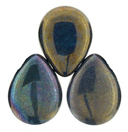 12 x 16 mm Czech Pear Drop Matte Oxidised Bronze 15765