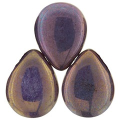 12 x 16 mm Czech Pear Drop Lustre Opaque Bronze Smoke P15780