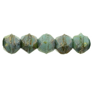 50 pk 3mm Czech English Cut Turquoise Bronze Picasso BT6313