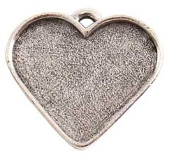 32x27mm .999 A Silver Plated Patera Heart Bezel
