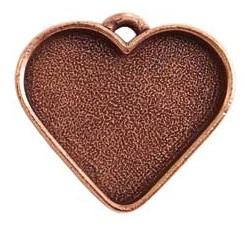 32x27mm Copper Plated Patera Heart Bezel