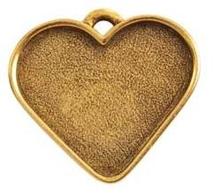 32x27mm .24K Gold Plated Patera Heart Bezel