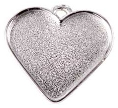 32x27mm .999 S Silver Plated Patera Heart Bezel