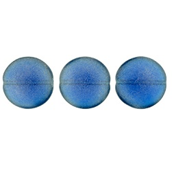 14mm Czech Cushion Rounds 8 pack Sueded Gold Capri Blue MSG6008