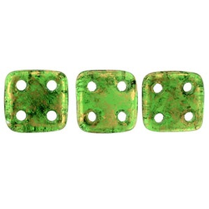 CzechMates QuadraTiles 10g Gold Marbled Green Emerald GM5014