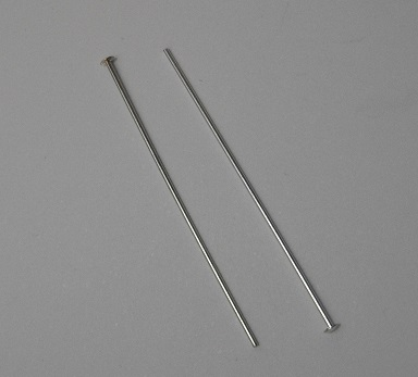50mm Patera .999 Antique Silver Plated Brass Head Pins 1 Pair