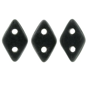 10g CzechMates 2 Hole Diamonds Matte Jet M2398