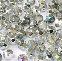 50 pack 3 mm Fire Polished Crystal Silver Rainbow 00030 98530