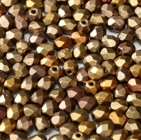 50 pack 4 mm Fire Polished Crystal Metallic Mix 00030 01610