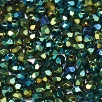 50 pack 3 mm Fire Polished Jet Green Iris 23980 21455